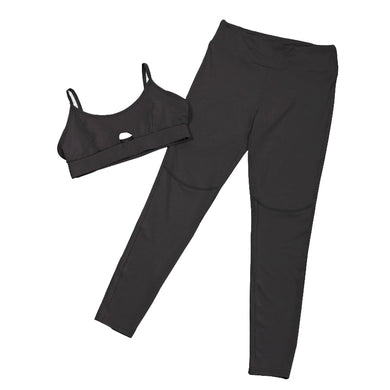 Womens Fitness Yoga Set Bra+Legging Two Piece Set Sportswear - Black / S - Yoga Sets
