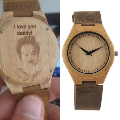Engraved Leather Wood Watch (With Your Handwriting Or Picture) - Watch