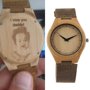 Engraved Leather Wood Watch (With your handwriting or picture)