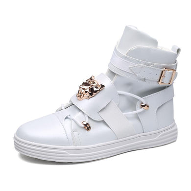 Mens Ankle Boots 100% Luxury Genuine Leather Hi Cut Sneakers - White / Us6.5=Eu39 - Shoes