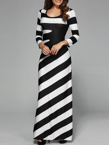 Women's Inclined Striped Maxi Dress