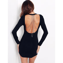 Open Back Chain Black Bodycon Dress - Andre's Store