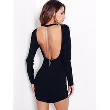 Open Back Chain Black Bodycon Dress - Party Dress