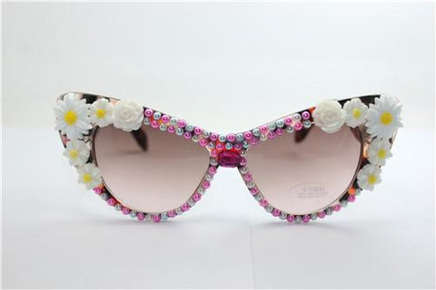 Summer Pink Leopard Pearl Frame Cat Eye Sunglasses