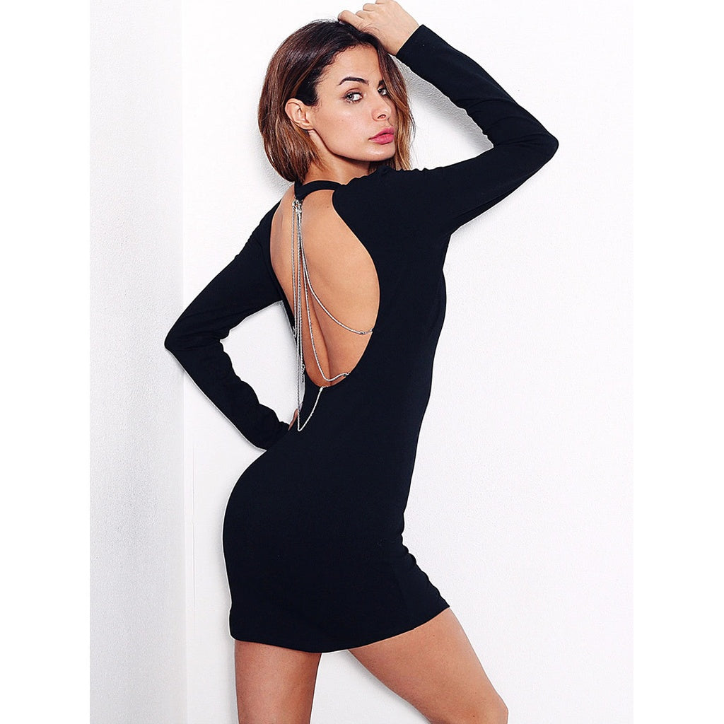 Open Back Chain Black Bodycon Dress - S - Party Dress