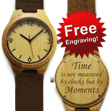 Personalized Wood Watch Free Engraving - Bamboo - Numbers / Arial Bold - Watch