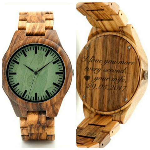 Wood Watch Engraved (FREE) w/ YOUR OWN HANDWRITING ON SALE $98.00 only! ($120 regular price)