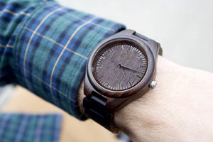 Men's Dark Ebony Real Wood Handmade Watch with Wooden Strap. Gift for Him.