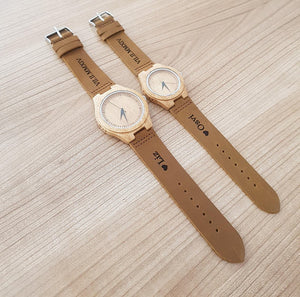 Couples Leather Wood Watch with Free Engraving of Your handwriting or Picture (package of 2)