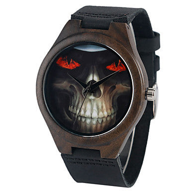 Wood Watch Skull Design - Watch