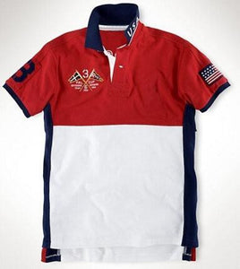 Men's Embroidered Polo Shirt 14 Countries US, Russia, Australia, Spain, Canada, etc