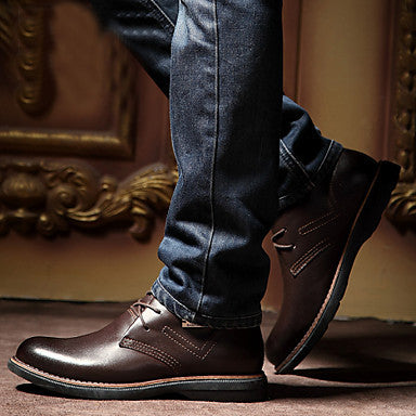 Mens Shoes Casual Leather Boots - Brown / Us7.5 - Shoes