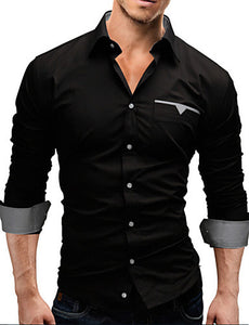 Men's Cotton White/Black/Red Long Sleeve Shirt