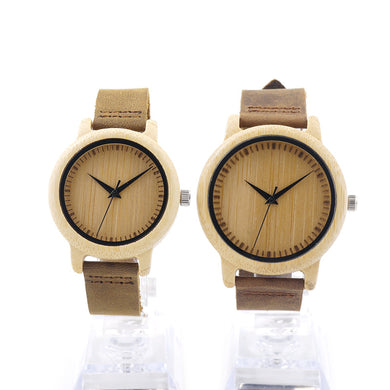 Couples Round Bamboo Wooden Wristwatch - Watch