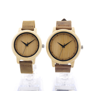 Couples Round Bamboo Wooden Wristwatch