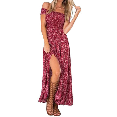 Spring Off Shoulder Maxi Dress with Slit for Women