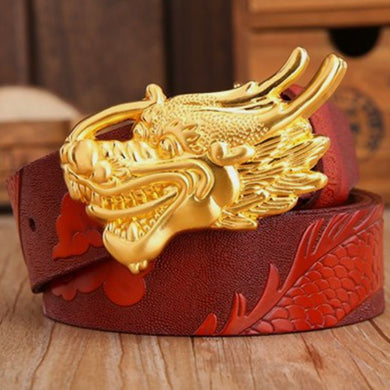 Dragon Luxury Leather Belt - Gold Orange / 115Cm - Belts