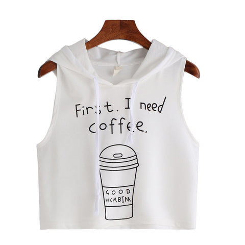 First I need Coffee Sleeveless Hooded Blouse