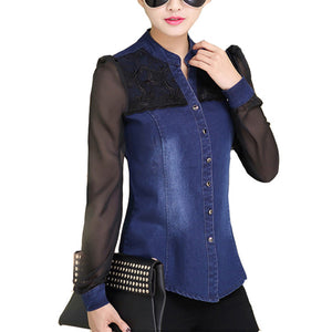 Women's Denim Shirt with Sheer Sleeves