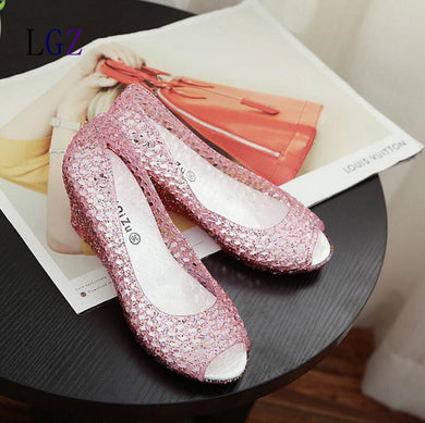 Woven Style Peep Toe Jelly Shoes - Like A Picture / 6 - Shoes