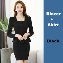Womens Work Blazer Pants Skirt Set (2 Piece 3 Piece) S To 4Xl - Black Skirt Suits / S - Suits