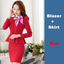 Womens Work Blazer Pants Skirt Set (2 Piece 3 Piece) S To 4Xl - Red Skirt Suits / S - Suits
