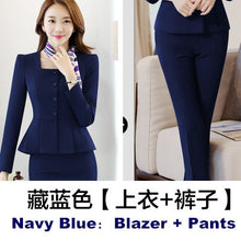 Womens Work Blazer Pants Skirt Set (2 Piece 3 Piece) S To 4Xl - Navy Blue Pant Suits / S - Suits