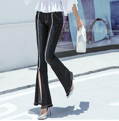 Womens Split The Fork Solid Flare Pants - Pants