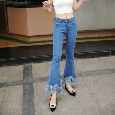 Tassel Edge Ankle Length Flared Jeans - hamarini2.com