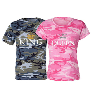 Couples Shirt King & Queen Camouflage Shirt Small to 5XL