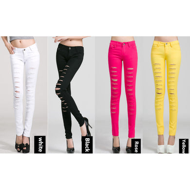 Skinny Ripped Jeans For Women 4 colors - hamarini2.com