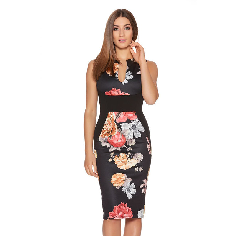 Madison Pencil Dress In 10 Designs - Black Ussize / Xs - Dress