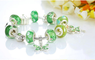 Green Glass Butterfly Charm Bracelet - 20Cm Length - Bracelet
