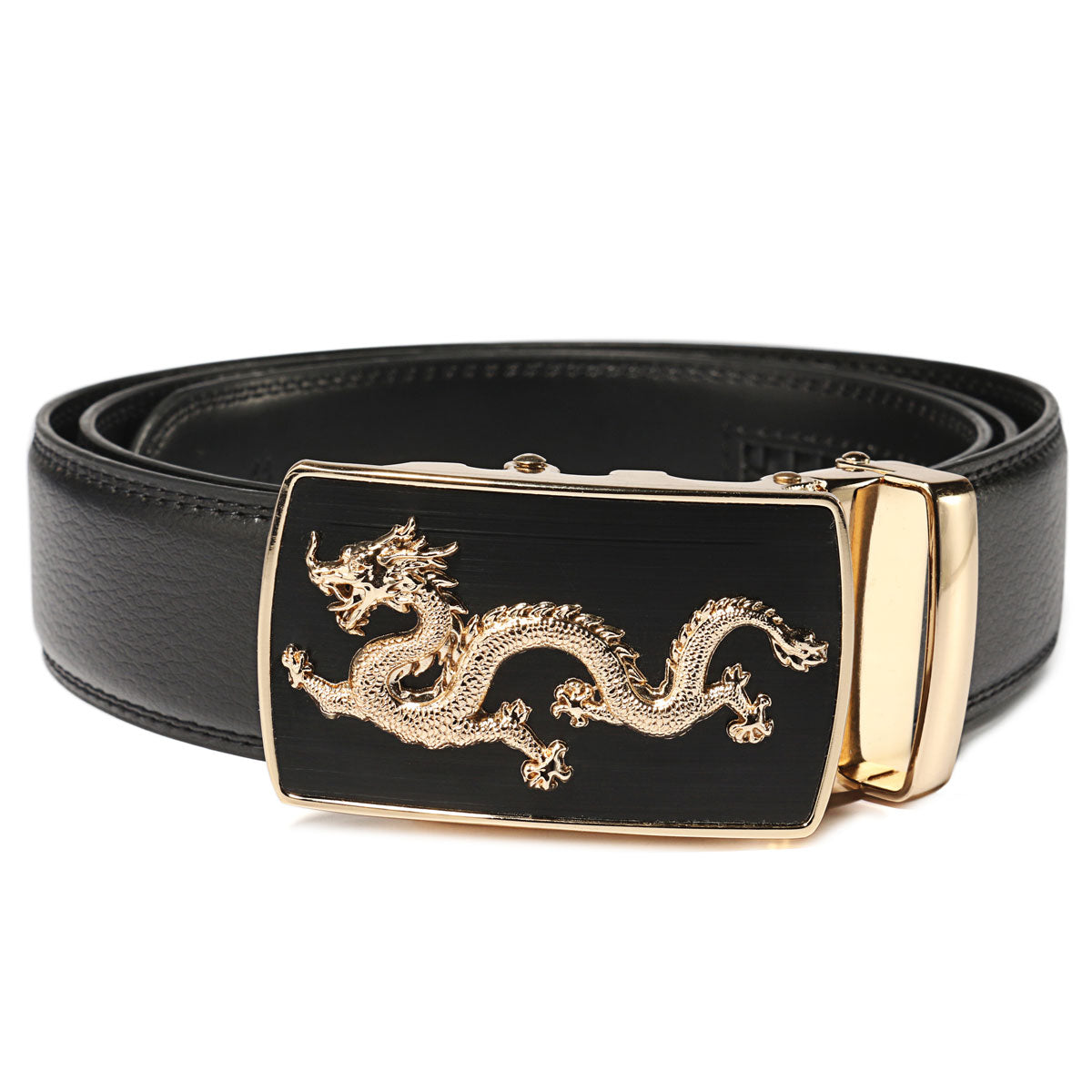 Dragon Buckle Exact Fit Automatic Genuine Leather Belt - Andre's Store