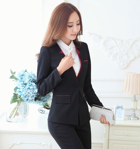 Women's Business Suits Grey and Black w/ Accent S to 3XL