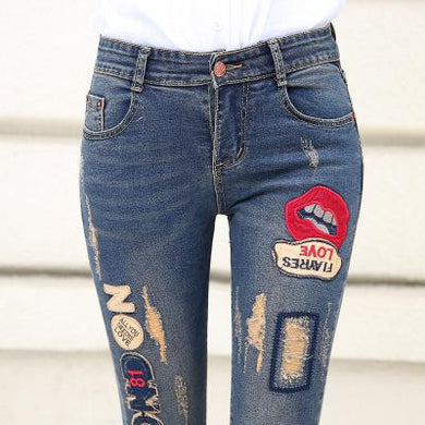 Women's Low Waist Ripped Jeans With Patches - Hamarini2