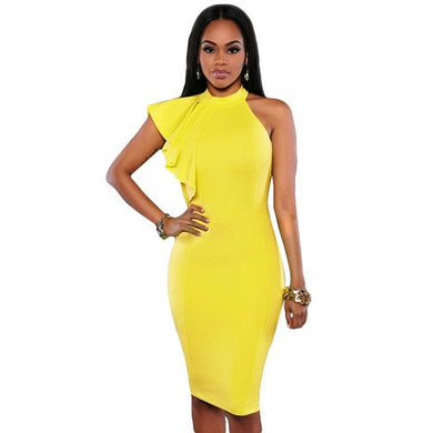 9e1013f13d50 One Shoulder Bodycon Dress Top Quality For  27.50! - Yellow   L - Dress