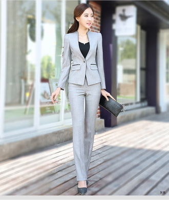 Womens Business Suit Formal Blazer With Pants S To 3Xl - Gray Coat And Pants / S - Suits