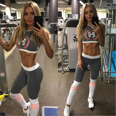 Womens Fitness Cropped Top And Leggings Set - Photo Color / S - Leggings