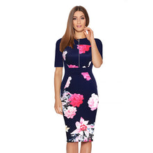 Madison Pencil Dress In 10 Designs - Navy Blue Half / Xs - Dress