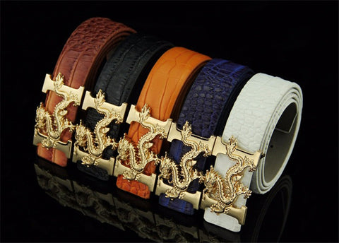 Dragon Crocodile Pattern Leather Belt - Andre's Store