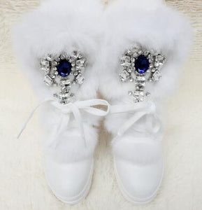Real Rabbit Fur with Rhinestones Sneakers/Boots
