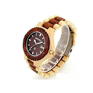 Sport Watch / Quartz Wood Band Vintage Red Green Yellow