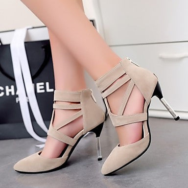 Womens Shoes Casual Stiletto Heel Hollow-Out Zipper - Shoes