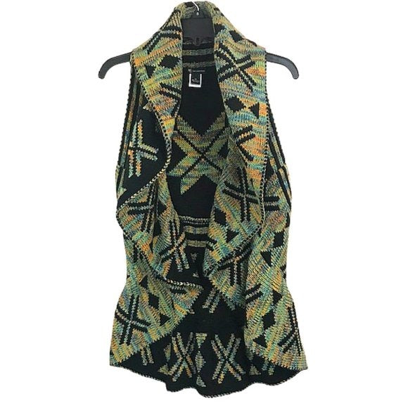 New Directions Tribal Print Circle Sweater Vest size M - Fab50Fashions