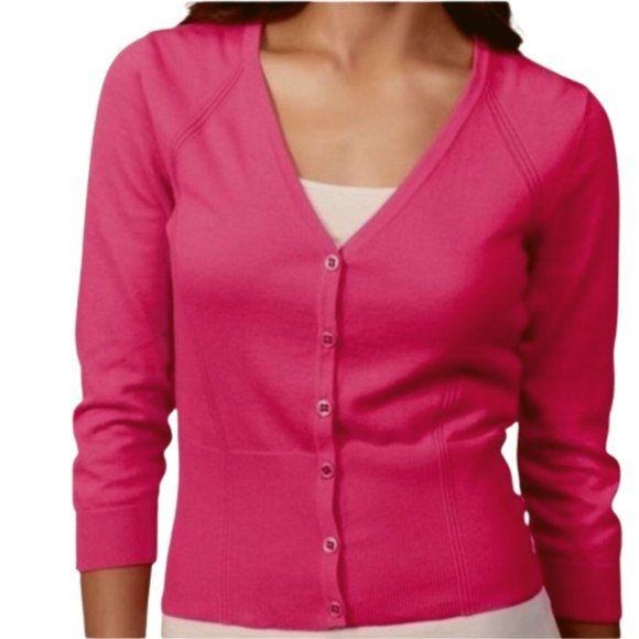 CAbi pink v-neck cardigan sweater #885 size L - Fab50Fashions