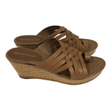 Donald J. Pliner Flore Wedge Leather Sandal Brown size 9 - Fab50Fashions