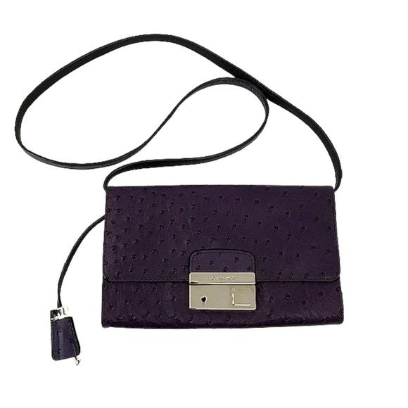 Michael Kors Michael Kors Purple Ostrich Embossed Gia Clutch - Fab50Fashions