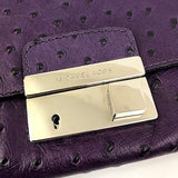 Michael Kors Purple Ostrich Embossed Gia Clutch - Fab50Fashions