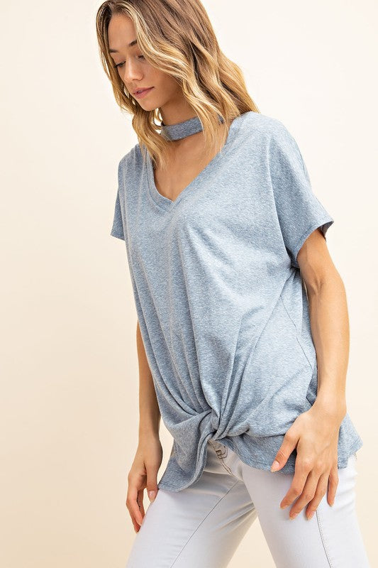 Peek A Boo Neck with Twist Front Top